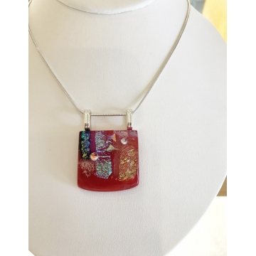 Fused Glass Pendant in Red by Judy Butler (Local Pick-Up Only)