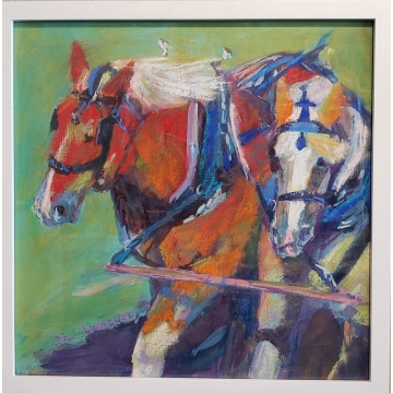 Draft Horse 3 Original Painting by Sandy Lindblad (local pick-up only)