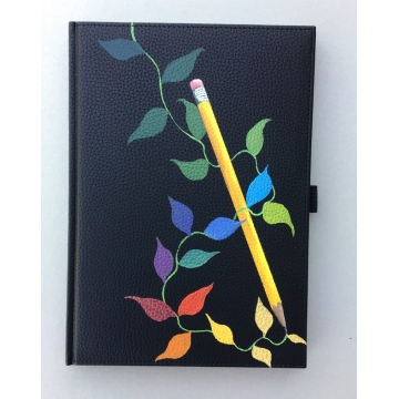 Hand Painted Blank Book with Colorful Leaves by Linda Miller (Available for Shipping or Local Pick-Up)