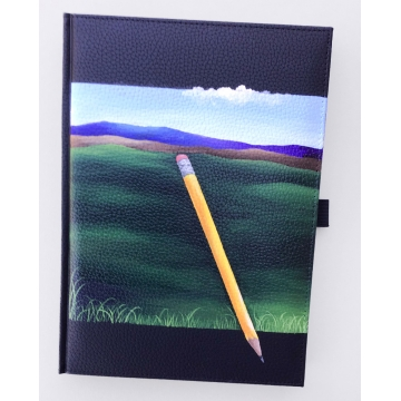 Hand Painted Blank Book with Floating Pencil Landscape by Linda Miller (Available for Shipping or Local Pick-Up)