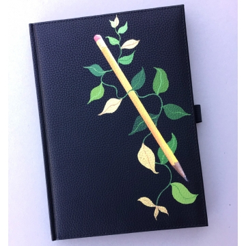 Green and Gold Leaves Hand Painted Journal by Linda Miller (Available for Shipping or Local Pick-Up)