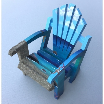Miniature Ocean Day Adirondack Painted Chair by Linda Miller (Available for Shipping or Local Pick-Up)