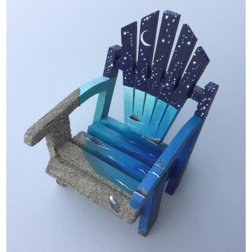 Miniature Night Ocean Adirondack Painted Chair by Linda Miller (Available for Shipping or Local Pick-Up)