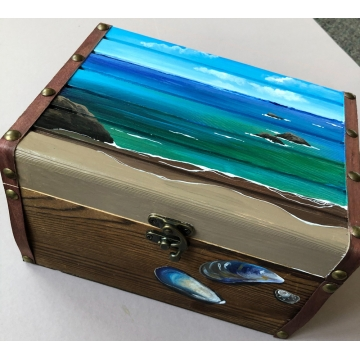 Painted Wooden Box by Linda Miller (Available for Shipping or Local Pick-Up)
