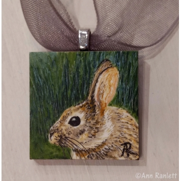 Miniature Original Rabbit Drawing by Ann Ranlett (Available for Shipping or Local Pick-Up)
