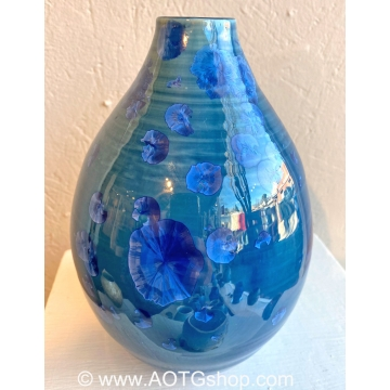 Teal Blue Crystalline Glaze Vase by Shoshana Bilunos (Available for Shipping or Local Pick-up)