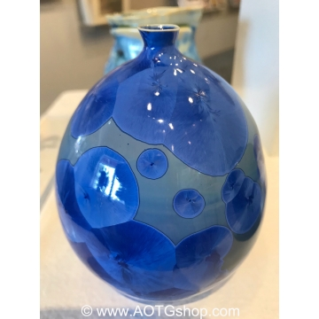 Baby Blues Crystalline Glaze Bud Vase by Shoshana Bilunos (Available for Shipping or Local Pick-up)