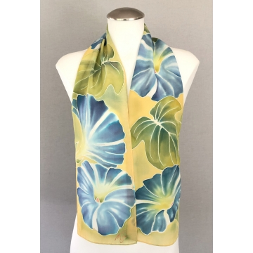 Chapala Morning Glory 1, Painted Silk Scarf by Merridee Smith (Available for Shipping or Local Pick-Up)