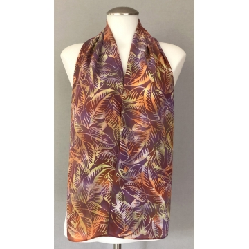 Fall Leaves Tjap Batik Silk Scarf by Keith Smith (Available for Shipping or Local Pick-Up)