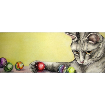 """Marble Thief, Trusted Pet"" - Matted Giclee Print of a Watercolor Painting by Diane Tharp (Available for Shipping or Local Pick-Up)"