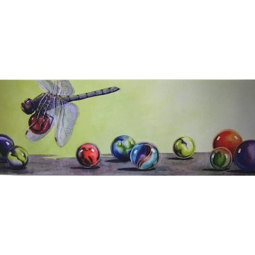 """Marble Thief, Dragonfly"" - Matted Giclee Print of a Watercolor Painting by Diane Tharp (Available for Shipping or Local Pick-Up)"