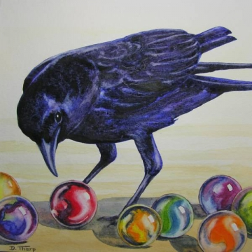 "Matted Giclée Print of a Watercolor Painting ""Crow"" by Diane Tharp (Available for Shipping or Local Pick-Up)"