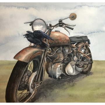 "Original Framed Watercolor Painting ""Ready to Roll"" by Diane Tharp (Available for shipping or local pick-up )"