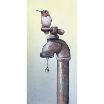 "Framed Giclee Print of a Watercolor Painting ""Thirsty"" by Diane Tharp (Available for Shipping or Local Pick-Up)"