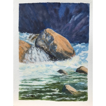 "Original Gouache ""Yuba River Rapids"" by Jane Welles (Available for Shipping or Local Pick-Up)"